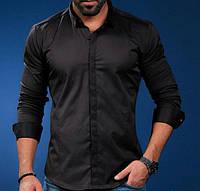 Черная шикарная  рубашка для мужчин, фото 1