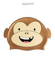 Детская (Junior) силиконовая шапочка для плавания Sporti Cartoon Monkey JR, фото 1