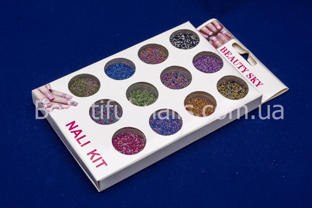 Набор бульонок для дизайна ногтей, в баночках 12 шт (разноцветные)