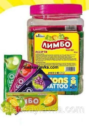 Жевательная конфета Лимбо Фруктовая Миньон Тату Банка 40 шт (Tayas)