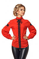 Современная деловая женская блуза красного цвета