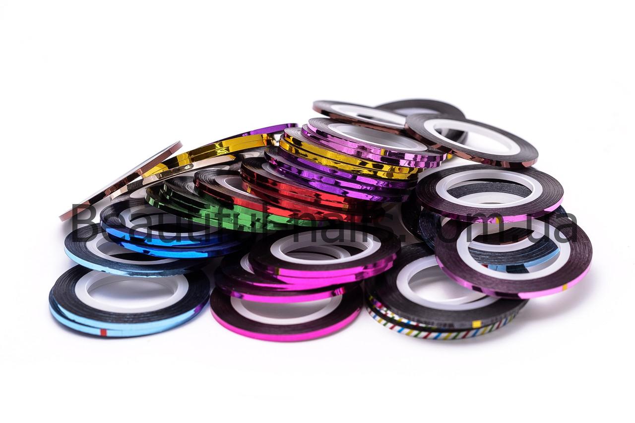 Кольорова декоративна стрічка для дизайну нігтів 0,2 мм, кольори в асортименті