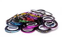Кольорова декоративна стрічка для дизайну нігтів 0,2 мм, кольори в асортименті, фото 1