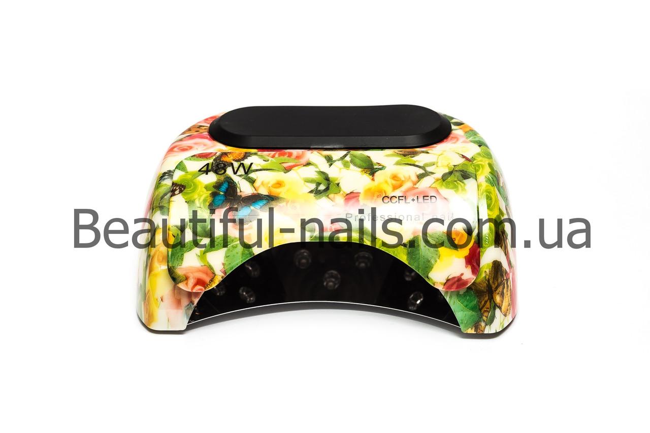 Профессиональная лампа для ногтей CCFL+ LED с таймером, 48 Вт (цветы с бабочками)