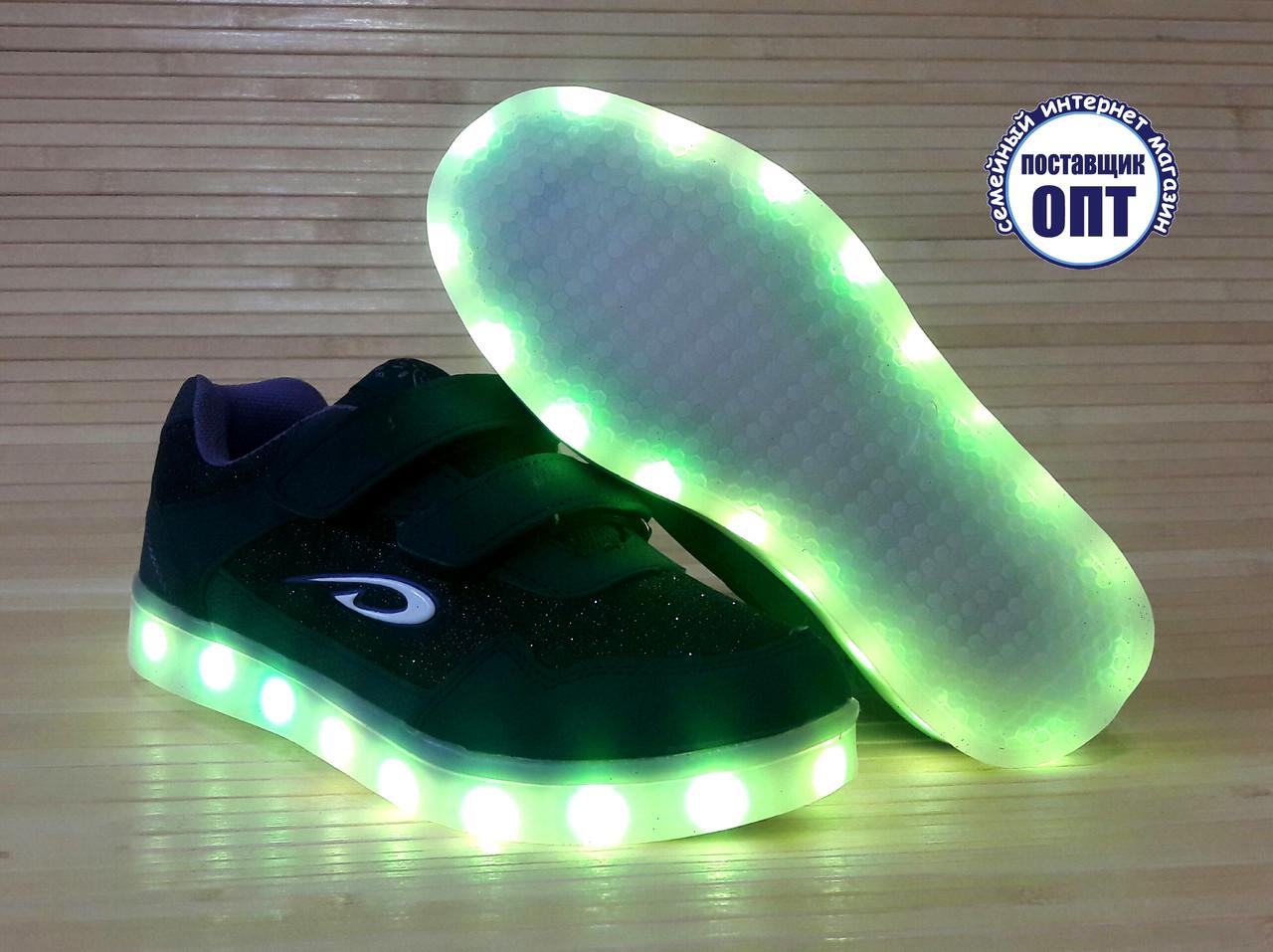 2eab87b0 Кроссовки со светящей LED подошвой зарядка USB кабелем для девочки ...