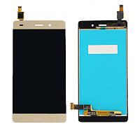 Дисплей (экран) для Huawei P8 Lite Хуавей (ALE L21 L20 L22) + тачскрин, цвет золотой.