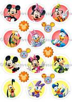Печать съедобных картинок для капкейков - Ø6 см - Cахарная бумага - Микки Маус и его Друзья №2
