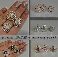 Комплект серебряных украшений для женщин, с золотыми пластинами - Радость