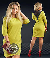 Прямое платье с кружевом на спине - 16692