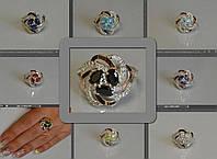 Серебряное женское кольцо с камнями - Радость