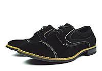 Черные мужские замшевые туфли Paolo Gianni ( модные, стильные, новинки весна, лето, осень)