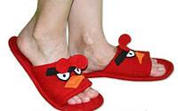 """Прикольные тапочки для всей семьи """"Angry Birds"""", красные. Флисовые домашние летние тапочки по Вашим размерам!"""