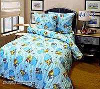 Постельное белье в кроватку бязь белорусская Кармашки голубой
