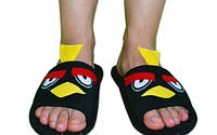 """Дизайнерские флисовые домашние тапочки """"Злые птички"""", черные. Флисовые тапочки для всей семьи - любой размер!"""