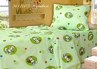 Постельное белье в кроватку бязь белорусская Пуговка салатовый