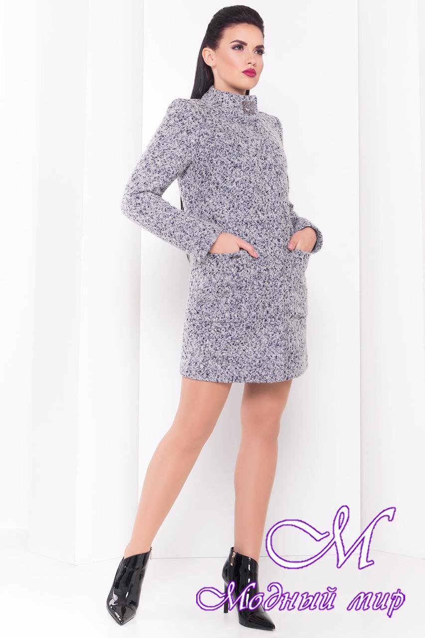 Женское демисезонное серо-голубое пальто  (р. S, M, L) арт. Кемби крупное букле 9192