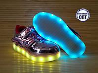 Кроссовки для девочки со светящейся LED подошвой с USB кабелем 28, 29, 30, 31, 32 розовые