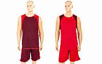 Форма баскетбольная мужская двусторонняя однослойная Unite LD-8802-2 (полиэстер. р-р L-5XL, красный)