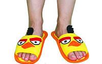 """Прикольные тапочки из флиса """"Злые птички"""", желтые. Дизайнерские тапочки для всей семьи, любой размер по меркам"""