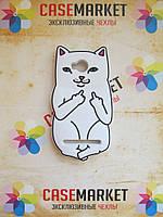 Объемный 3d силиконовый чехол для Huawei Y3ii Y3 II Белый кот