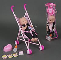 Говорящий пупс кукла с коляской (горшок, соска, бутылочка для кормления, каша), Baby Newborn