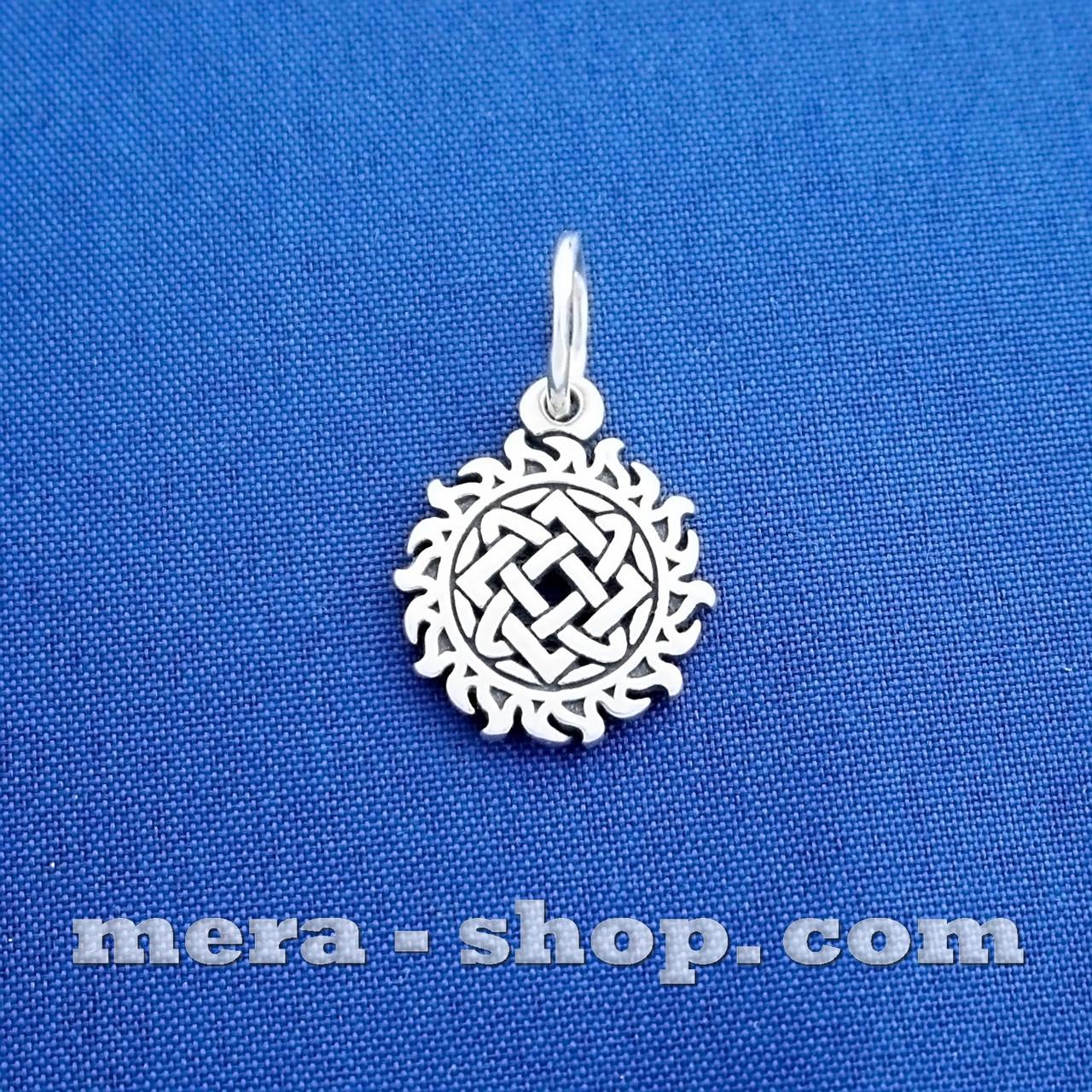 Звезда Лады в солнце серебряный славянский оберег, двусторонний кулон из серебра 925 пробы (13мм, 1.8г)