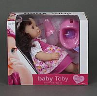 Говорящая кукла, пупс с волосами, функциональный (горшок, бутылочка, нагрудник, соска) 3 вида, Baby Toby Newbo