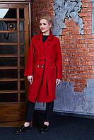 Женское демисезонное пальто 614 (темно-красный)