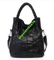 Вместительная сумка-мешок, натуральная кожа.