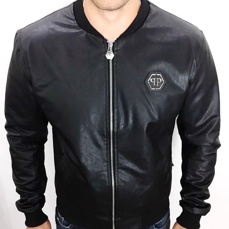 5111522a91b6 Куртка мужская PHILIPP PLEIN D2024 кожаная черная - Брендовая одежда от  интернет-магазина «Trendy