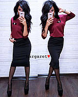 Женский стильный костюм с брошкой,топ+юбка, в расцветках