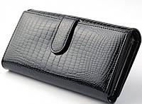 Кожаный кошелек ST с визитницей, лаковый.