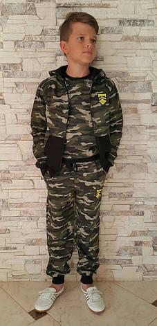 Кофта камуфляжная на молнии с капюшоном для мальчиков 146,152,158 роста Милитари, фото 2