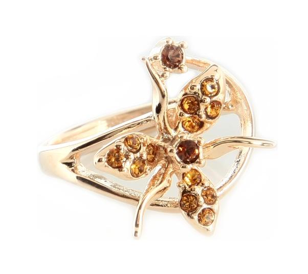 """Кольцо """"Гудалеара"""" с кристаллами Swarovski, покрытое золотом (j109p070)"""
