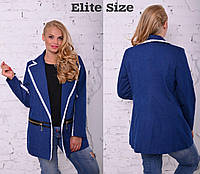 Жакет  плотный джинс стрейч+ кружево макраме (46-58)   0032-88