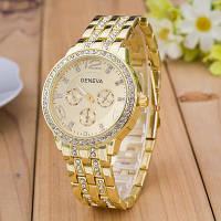 Женские часы Geneva Swarovski Gold золотые со стразами