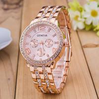 Женские часы Geneva Swarovski Bronze бронзовые со стразами