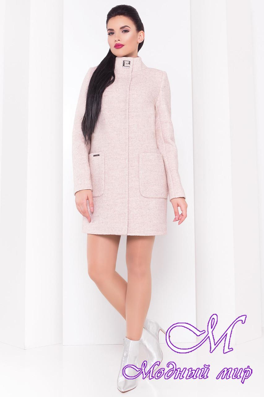 Женское осеннее бежевое пальто (р. S, M, L) арт. Кемби шерсть №9 - 9506