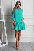 Молодежное женское платье с воланом мятного цвета