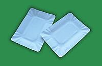 Одноразовая бумажная прямоугольная ламинированная тарелка 14*20 см