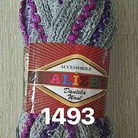 Распродажа турецкой пряжи  для вязания  дантела вул-1493 серая с фиолетовой меланж. окант.есть 3 шт