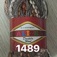 Распродажа турецкой пряжи  для вязания  дантела вул-1489 коричневая с меланж. окант.