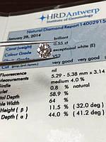 Бриллиант 5,3 мм 0,55 Кт сертификат HRD 1780$
