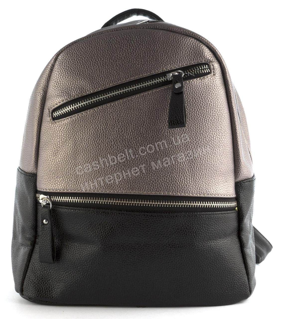 90f3f8e2 Стильный женский качественный городской рюкзак среднего размера art. 9868  черный/бронза