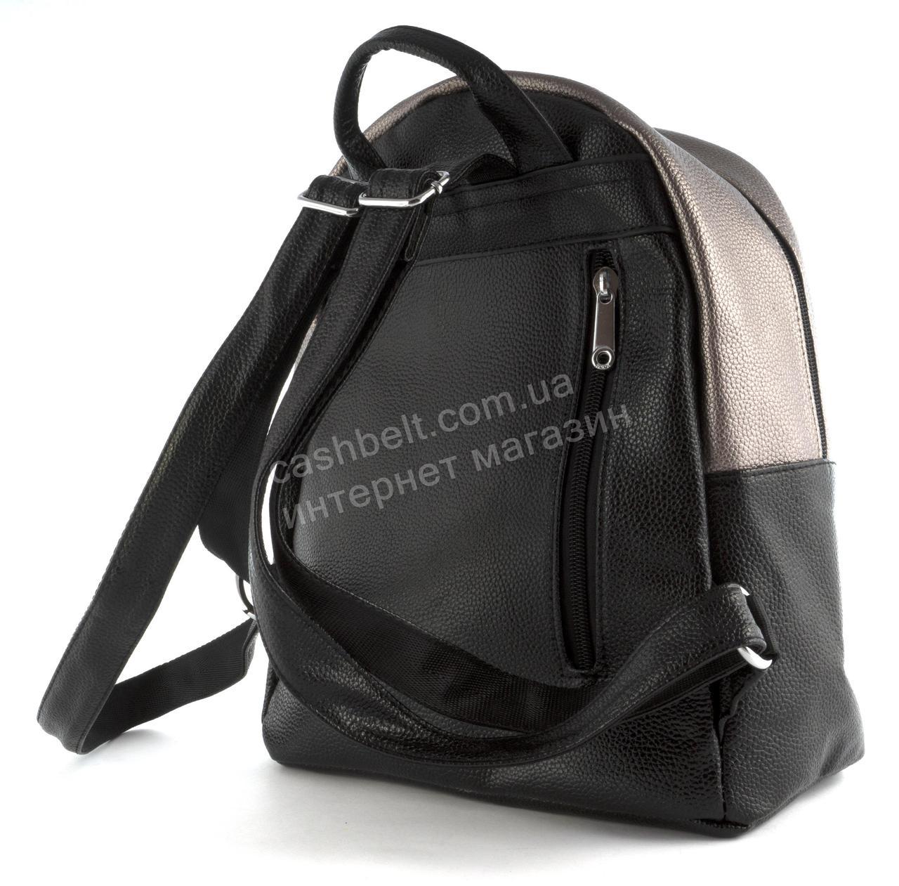 85d96bd2 ... Стильный женский качественный городской рюкзак среднего размера art.  9868 черный/бронза, фото 3 ...