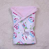 """Конверт одеяло для девочки """"Valleri"""" (совы розовый)"""