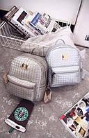 Прогулочный женский рюкзак. Черный, белый, серебро