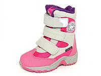 Детские зимние термо-ботинки для девочек, термоткань, стелька шерсть, размеры 22-27
