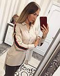 """Женснкая стильная хлопковая рубашка """"GUCCI"""" удлиненная сзади (3 цвета), фото 4"""