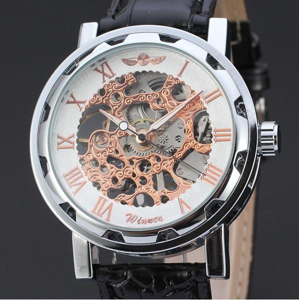 Наручные мужские часы Winner sceleton расцветка: белое с золотом